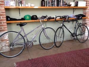Dana & Pasquale's bikes at Vita Coffee Shopphoto courtesy of Dana