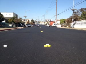 Post-its marking the temporary travel lanes