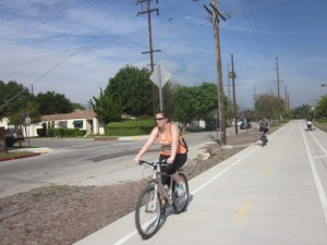 Bicyclists enjoy the bikeway on a beautiful sunny day. Note the woman walking with a stroller in the walking lane.