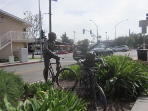 Family Outing, a bronze sculpture created by Gary Lee Price, was installed in Burbank on the Chandler Bikeway at Hollywood Way on May 3, 2007.