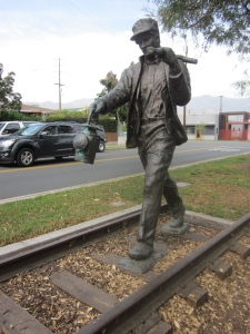Trackwalker, a bronze sculpture created by artist Shiela Cavalluzzi, uses original tracks from a section of the former Southern Pacific Transportation Company railroad. To commemorate the city's 100th anniversary of its incorporation, Trackwalker was installed on the Chandler Bikeway at Mariposa Street on April 29, 2011. A  trainwalker would monitor the lines for debris and unsafe conditions.