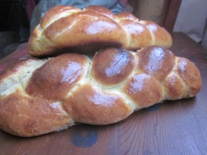 Challah using 4 strand braiding--so fun.
